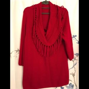 Chico's w/o tags red fringed sweater XL
